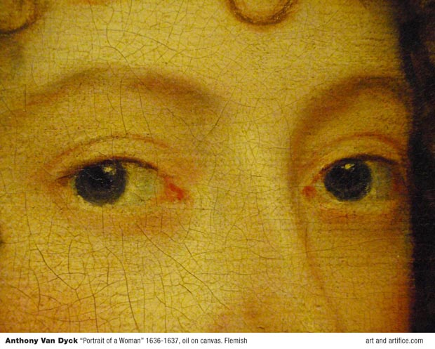 eyes close up detail - Anthony Van Dyck Portrait of a Woman