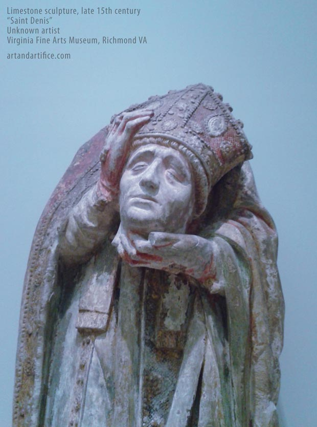 Saint Denis Limestone Sculpture - headless 15th century 1
