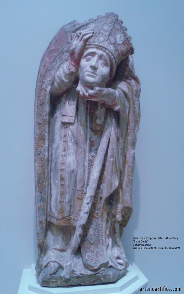 Saint Denis Limestone Sculpture - headless 15th century 2