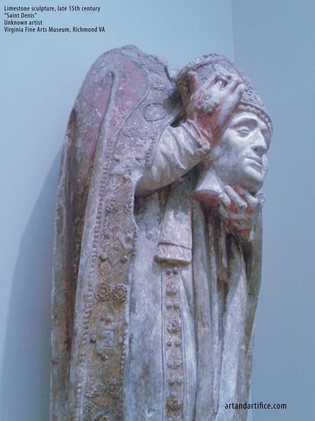 Saint Denis Limestone Sculpture - headless 15th century 4