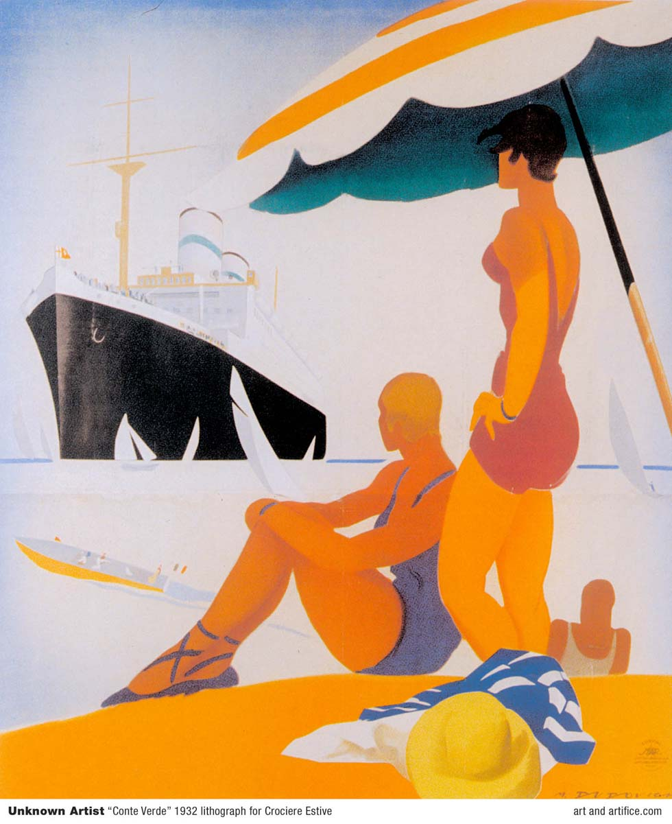Conte Verde Art Deco travel poster image lithograph