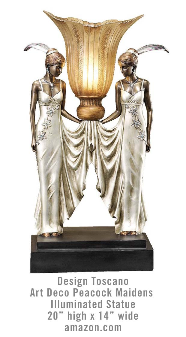 Toscano Statue Illuminated Light Design Toscano Art Deco Peacock Maidens Illuminated Statue