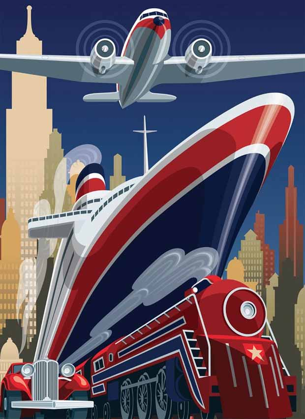 Deco Style Transportation Poster