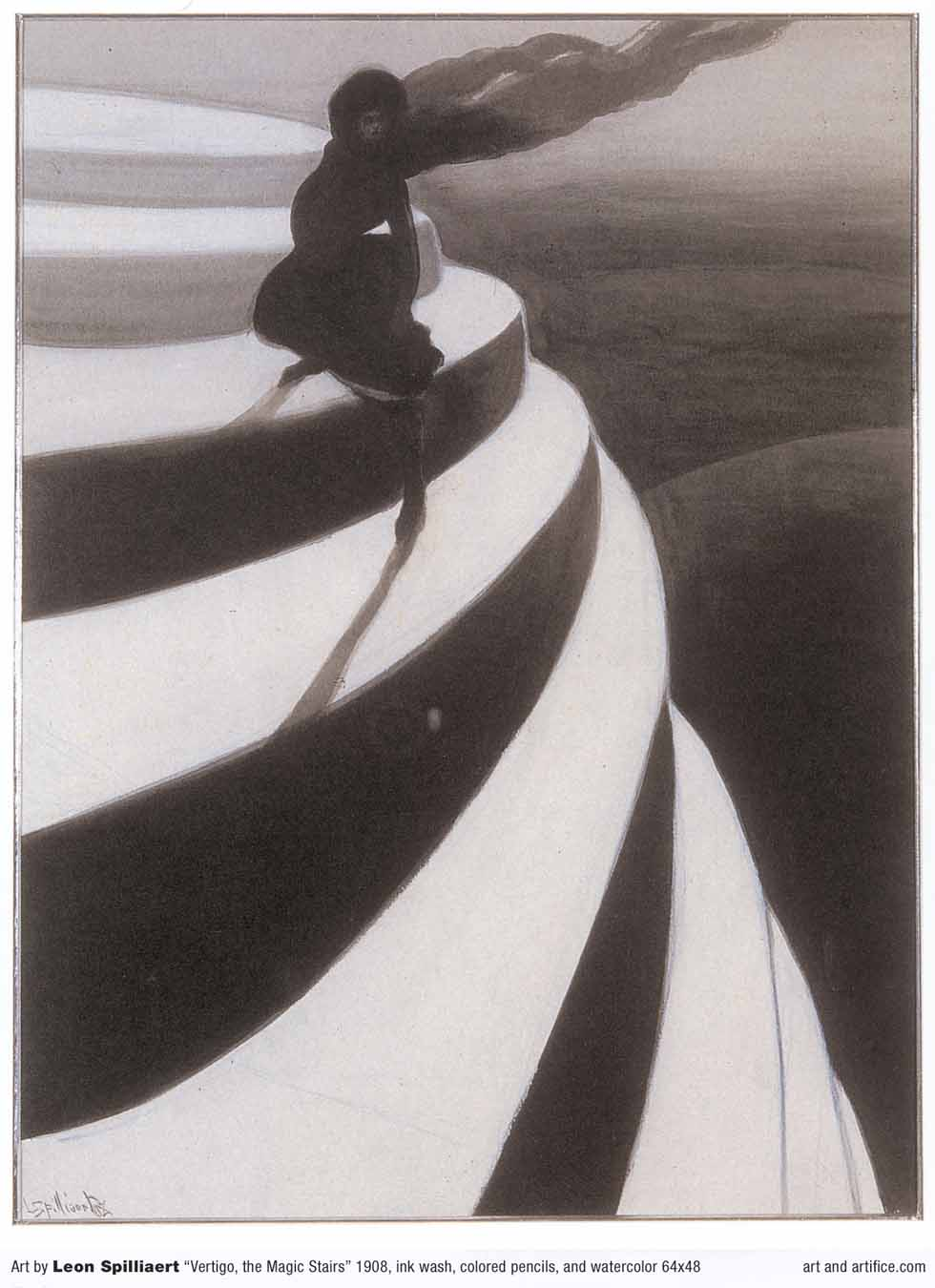 Spilliaert artwork - ink wash - vertigo the magic stairs