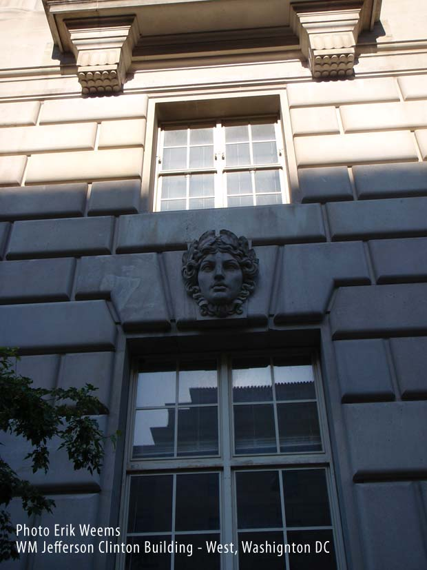 Face Facade scuptiure at William Jefferson CLinton Building West - Washington DC
