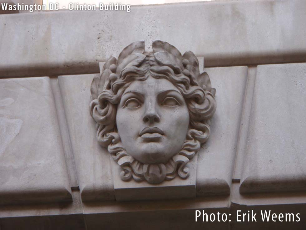 Face Sculpture Washington DC - CLinton Building