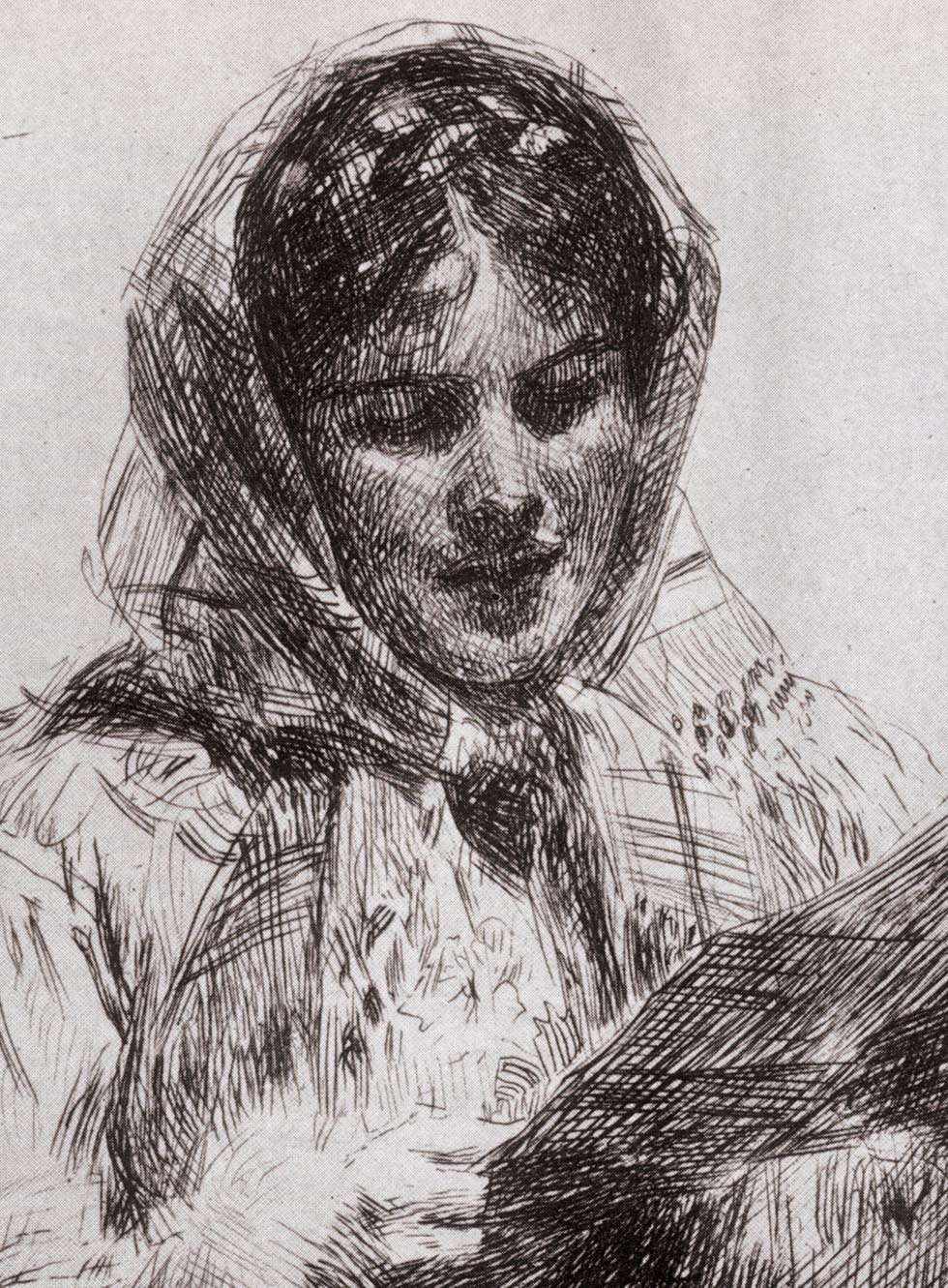 Anders Zorn etching of a woman
